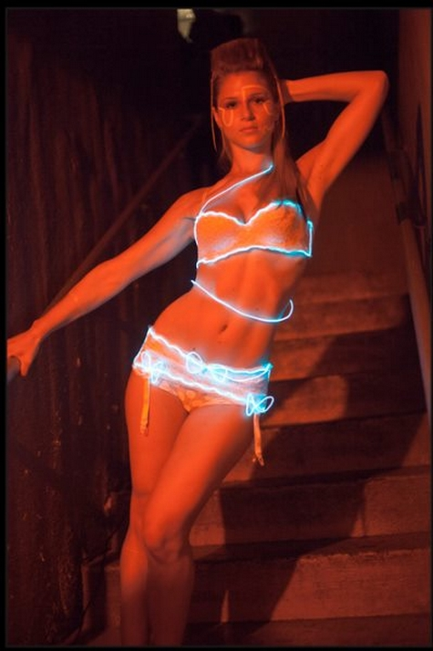 Women model underwear electroluminescent